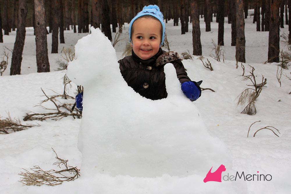 Westie de nieve posado por una niña de tres años y medio